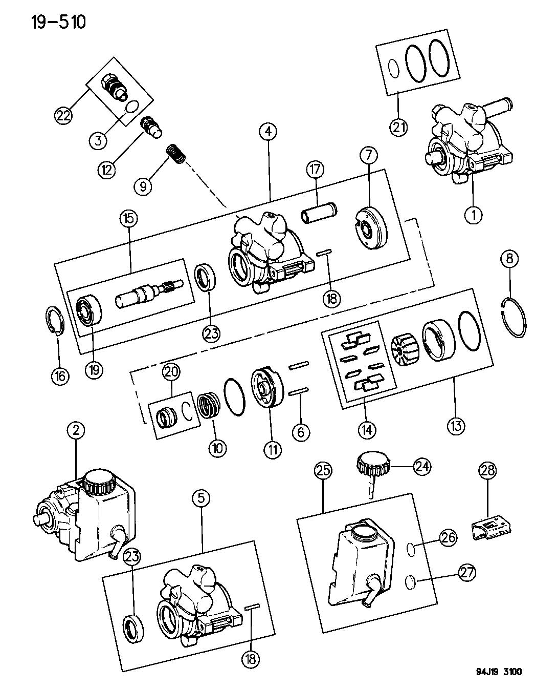 saginaw power steering pump diagram