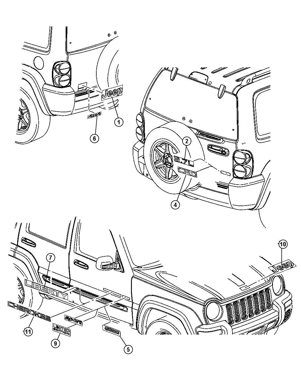 5JN01CA1AA     Jeep    Nameplate Dull finish Nameplates