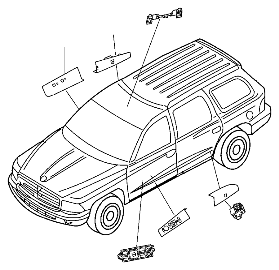 jeep grand cherokee switch  power window  1 gang  single
